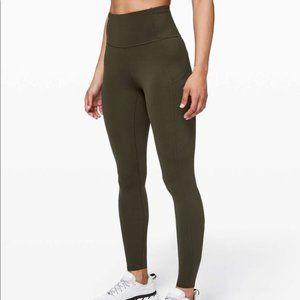 Lululemon Olive Fast and Free Mid-Rise Tight 25""